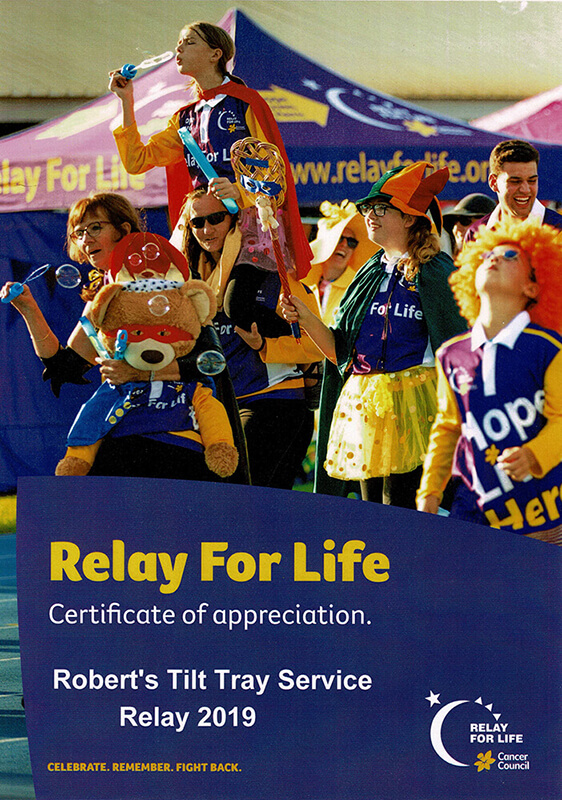 Relay for Life Certificate of Appreciation
